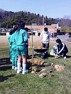 うすずみ桜植樹で紙芝居「けいたい大王の冠」