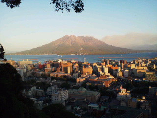 城山公園から夕方の桜島