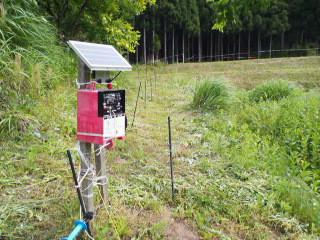 鳥獣害対策の電気策