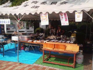 やっしき祭り・連合婦人会 ジャガバター、鯛焼き準備OK、食べきりお寿司、野菜もいっぱい